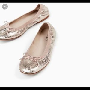 ZARA girls metallic ballerina flat shoes sz 34 ⭐️